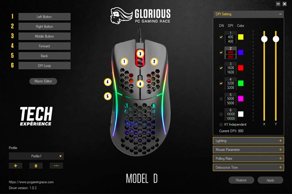 logiciel Glorious Model D